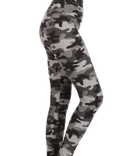 CURVY Gray Camo Yoga Legging