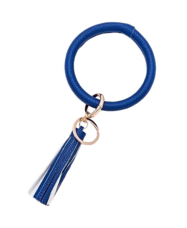 Blue Tassel Key Ring Bracelet