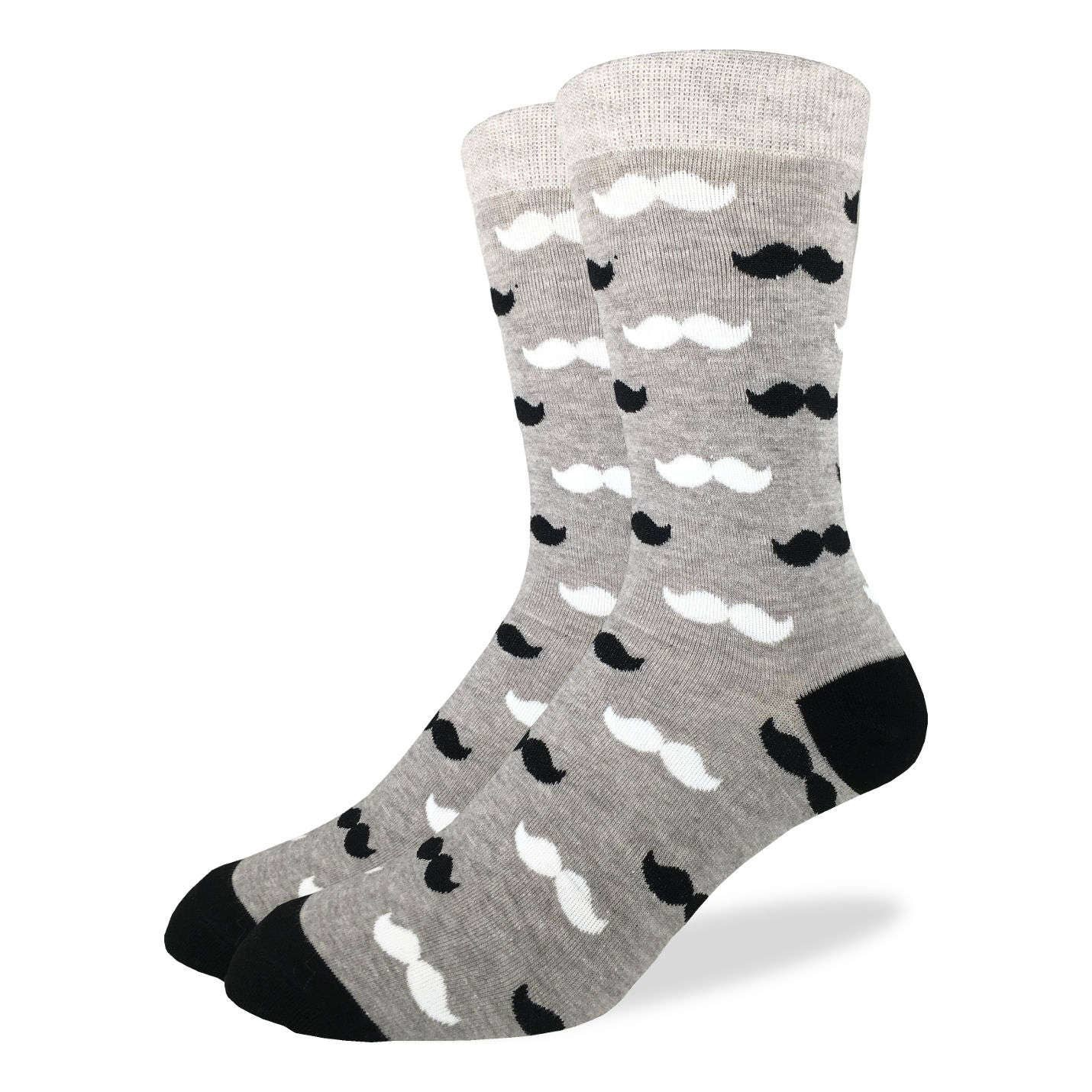 Black & Gray Mustache Men's Crew Socks