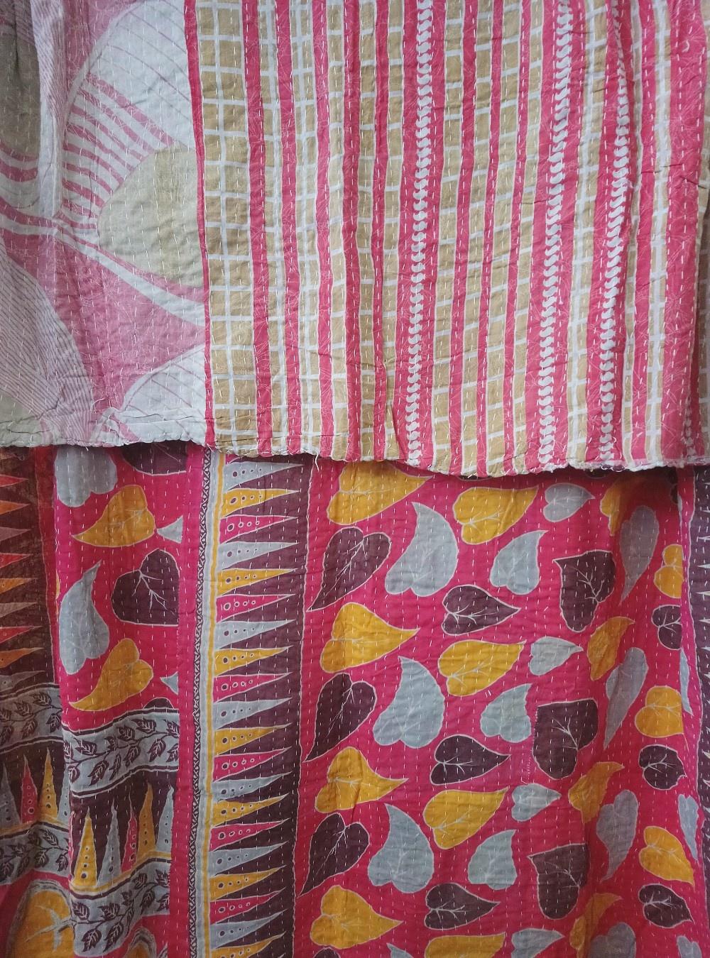 Kantha Sari Throw Blanket #771