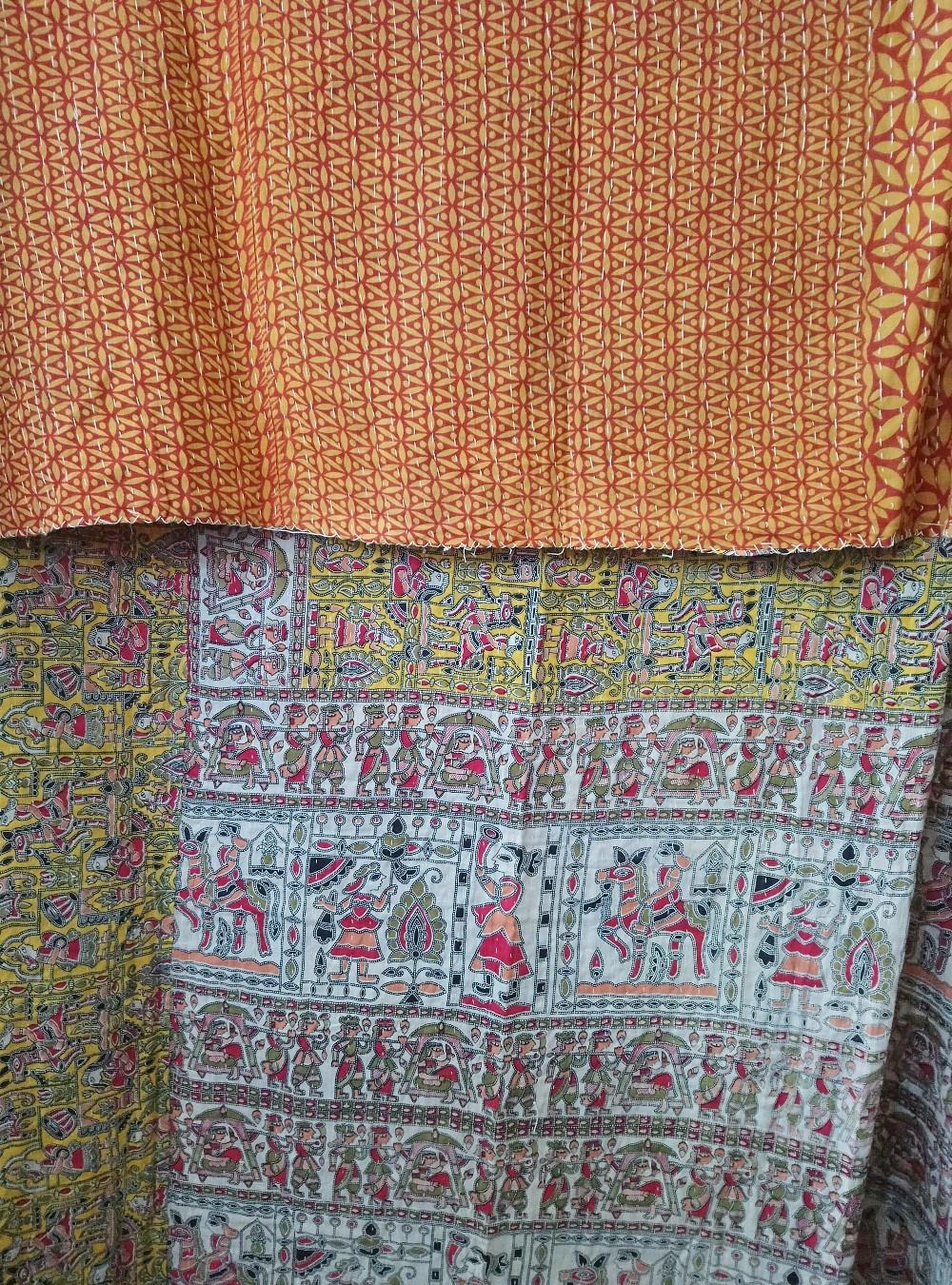 Kantha Sari Throw Blanket #772