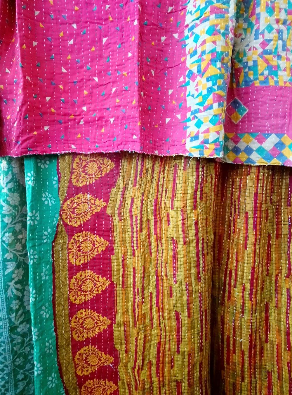 Kantha Sari Throw Blanket #774