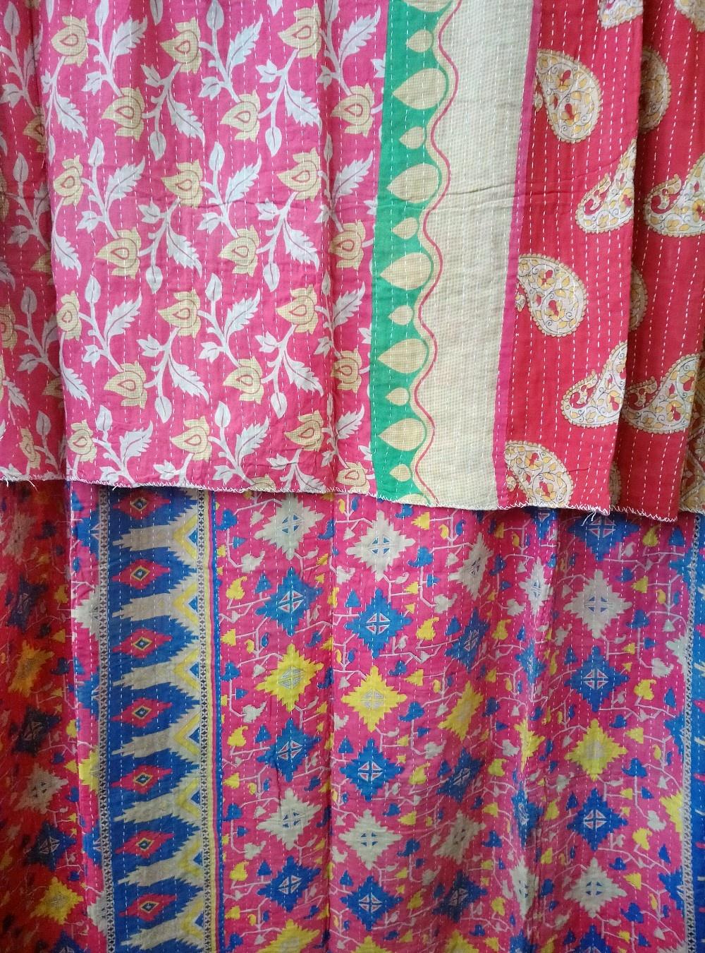 Kantha Sari Throw Blanket #776
