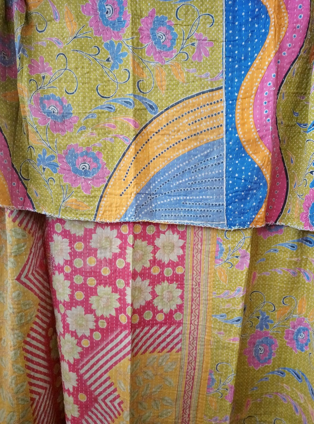 Kantha Sari Throw Blanket #777