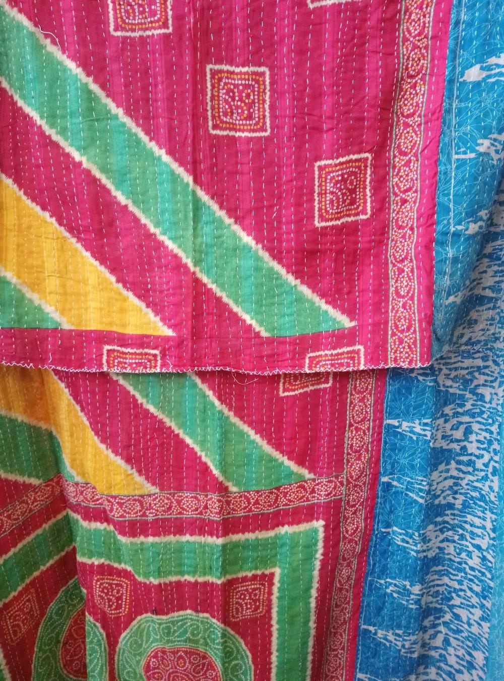 Kantha Sari Throw Blanket #778