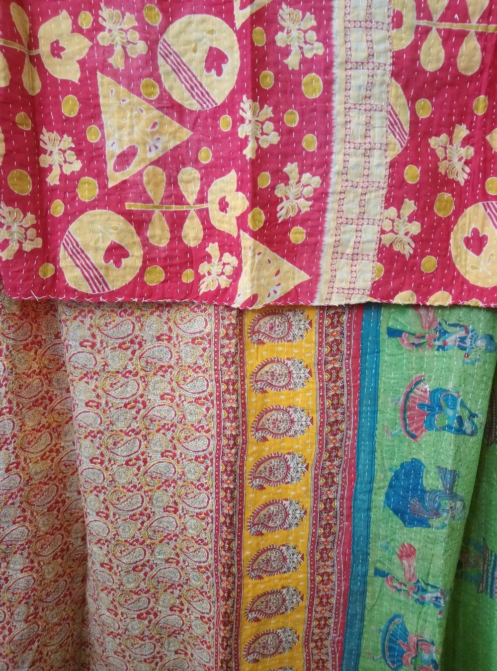 Kantha Sari Throw Blanket #779