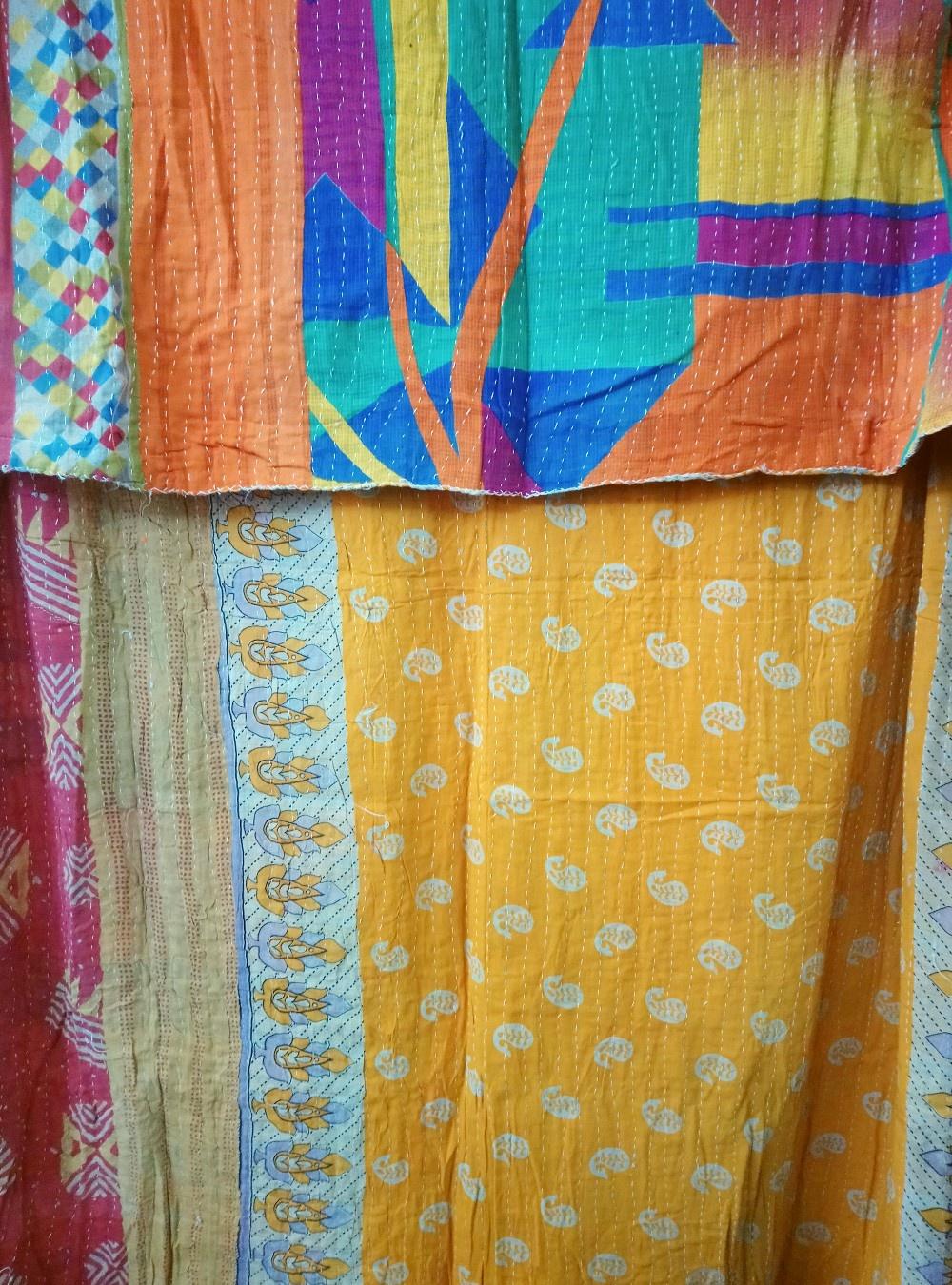 Kantha Sari Throw Blanket #780