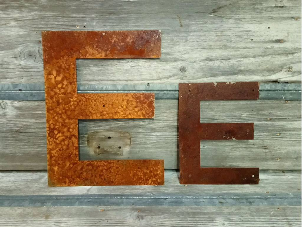 """Rusted Metal Letter E 12"""""""