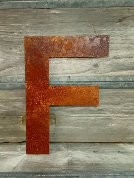 Rusted Metal Letter F 18""