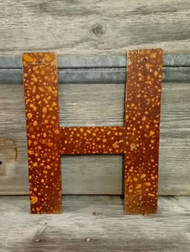 Rusted Metal Letter H 12""