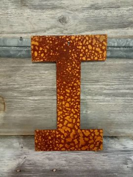 Rusted Metal Letter I 12""