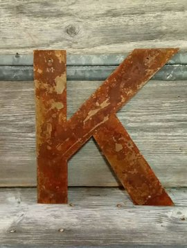 Rusted Metal Letter K 12""