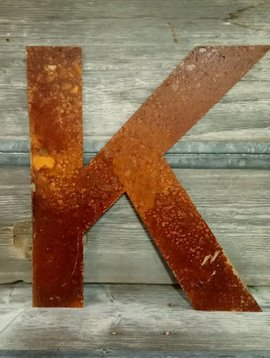 Rusted Metal Letter K 18""