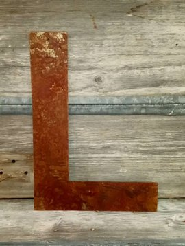 Rusted Metal Letter L 18""