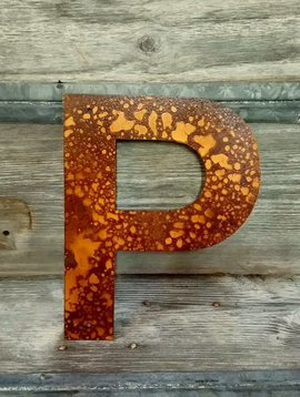 """Rusted Metal Letter P 12"""""""