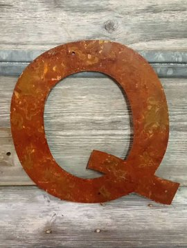 Rusted Metal Letter Q 12""