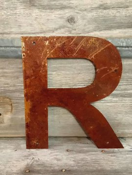 """Rusted Metal Letter R 12"""""""