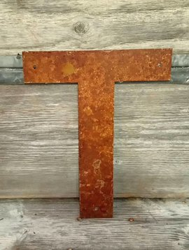 Rusted Metal Letter T 12""