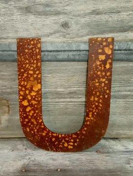 "Rusted Metal Letter U 12"""