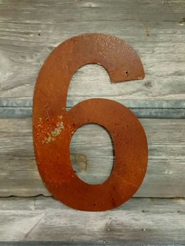 Rusted Metal Number 6 18""