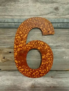 Rusted Metal Number 6 12""