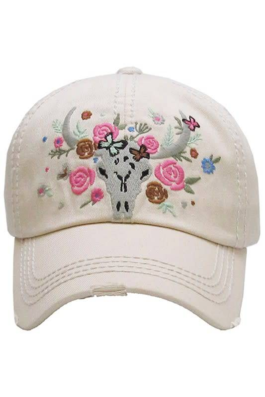 033c670d0 Floral Skull Ball Cap Beige