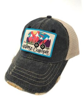 Abstract Happy Camper Patch Ball Cap