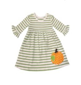 Be Mine Green Striped Pumpkin Dress