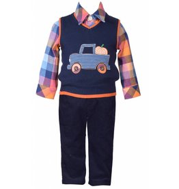 Matt's Scooter Blue Plaid Farm Truck 2 Piece Set