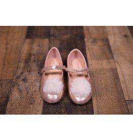 Laura Ashley Rose Gold Shimmer Puff Flats
