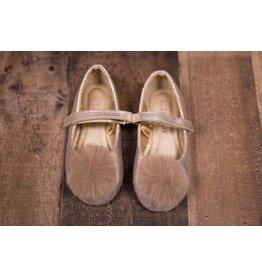 Laura Ashley Gold Shimmer Puff Flats