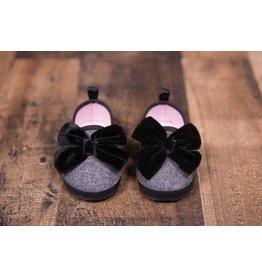 Laura Ashley Grey Slip on Shoe with Velvet Bow