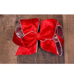 Wee Ones King Red Velvet With Silver Trim Bow