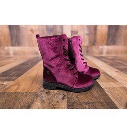 KensieGirl Burgundy Velvet Combat Boots