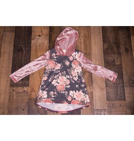 Pink Vanilla Charcoal and Mauve Floral Hoodie