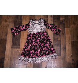 Pink Vanilla Black and Pink Floral Baby Doll Dress