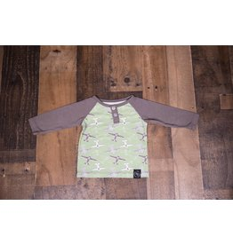 Sweet Bamboo Green and Grey Airplane Shirt
