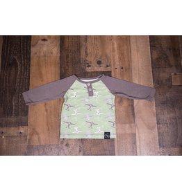 Sweet Bamboo Green and Grey Airplane Shirt