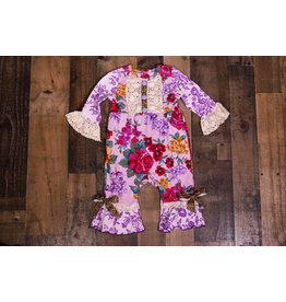 Sassy Me Purple Floral Romper with Leopard Bows
