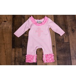 Three Sisters Pink Faith Striped Ruffle Romper