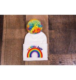 Rainbow Baby Pom Pom Hat