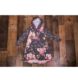 Pink Vanilla Charcoal Floral Hoodie Dress