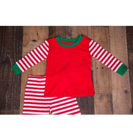 Be Mine Red White Stripe Sleeve Green Collared PJ Set