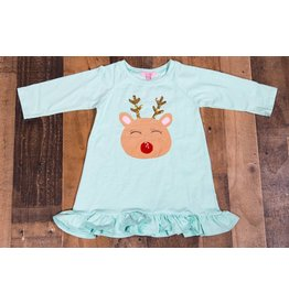 Haven Girl Aqua Reindeer Ruffle Tunic