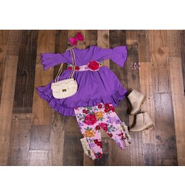Sassy Me Solid Purple High Low Ruffled Tunic with Purple Floral Leggings