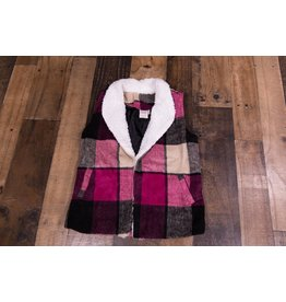 for all seasons Plaid Sherpa Vest