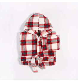 Petit Lem Happy Holidays Plush Plaid Robe
