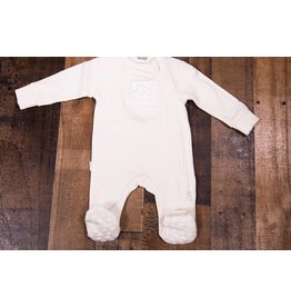 Kushies Classic Silk Cloud Side Zip Footie PREEMIE (Cream)