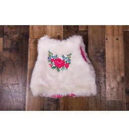 Cotton Kids Faux Fur Embroidered Rose
