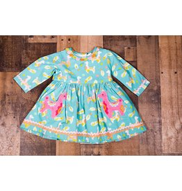 Cotton Kids Llama Teal Pocket Dress